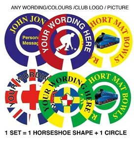 PERSONALISED BOWLS LAMINATED STICKERS ANY WORDS ARTWORK 1' INDOOR, LAWN ETC