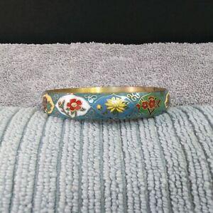 Vintage Chinese Cloisonne Enamel Solid Bracelet Floral Design 7 cm Diameter