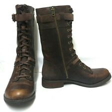 Timberland Savin Hill Brown Leather Zip Lace Boots UK 6.5 Earthkeepers Mid Calf