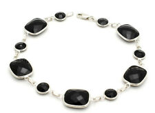 14K White Gold Round and Rectangular Faceted Black Onyx Bracelet 8 Inches