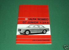 Uso e manutenzione Alfa Romeo GT Junior 1.3 1.6 Owner manual use and maintenance