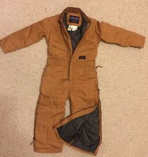 Youth Insulated Brown Canvas Duck COVERALLS by WALLS Size 8 ZERO ZONE