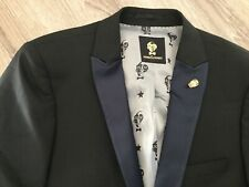 "Noose & Monkey Tuxedo Style Skinny Suit Jacket In Black - Chest Size 40"" - New"