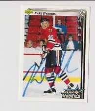 92/93 Upper Deck Karl Dykhius Chicago Blackhawks Autographed Hockey Card