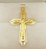 10k Yellow Gold Cross Pendant Gold Crucifix Cross Charm