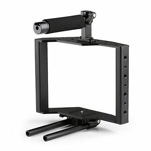 Movo SCG-30 Universal Aluminum DSLR Camera Cage w/Top Handle, Shoe & 15mm Rods