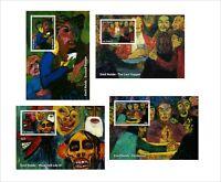 Emil Nolde  PAINTINGS ART 4 SOUVENIR SHEETS MNH UNPERFORATED