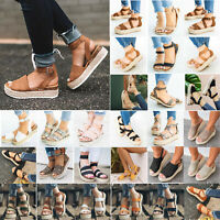 Womens Platform Wedge Espadrilles Sandals Beach Ankle Strap Flat Open Toe Shoes