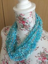 Hand Knitted Cowl Scarf, Turquoise Mix, One Size, by KnittedNature