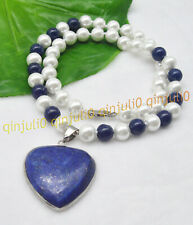 8mm Round White Shell Pearl & Blue Lapis Lazuli Gems Heart Pendant Necklace 18''