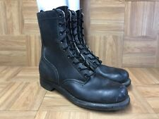 Vintage🔥 Biltrite Army Shoes Boots 1960's Black Solid Leather Combat 10 N BIKER