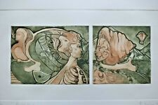 More details for anton von (ritter) kissling. signed, limited modernist etching. encounter. 1979