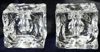 Vintage Retro Peill & Putzler Pair of Candlestick Ice Cube Glass Candle Holders