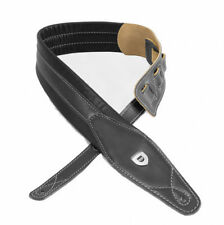 "Guitar Strap-Handmade 2.75"" Padded Black Leather-"
