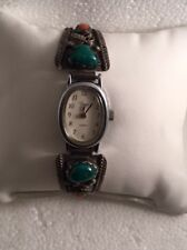 Native American Navajo Sterling Signed SC Watchband Time Watch Turquoise Coral