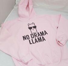 No Drama Llama Hoodie Age 5-6 to Adult XXL NEW Pink