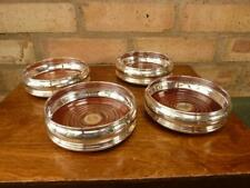 More details for 4 lovely vintage champagne wine bottle coasters silver plated wooden base