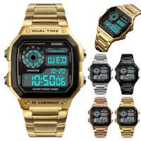 SKMEI Mens Digital Quartz Wrist Watch Sport Army Waterproof LED Stainless Steel