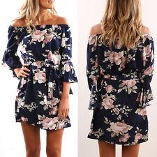 Womens Floral Off Shoulder Mini Dress Summer Beach Casual Evening Sundress 6-14