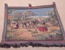 Vintage GOBELIN NEEDLEPOINT CANVAS WALL HANGING PAYSANNERIES 21 by 21 inches GUC