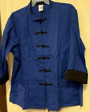 New listing 2xl Blue Black Zip Chef Cook Restaurant Uniform Lab Coat Fashion Deal 68180