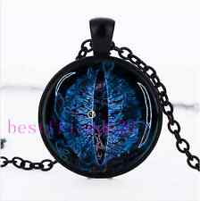 Blue Dragon Eye Photo Cabochon Glass Black Chain Pendant Necklace