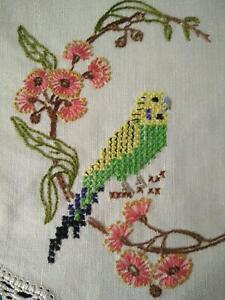 Australian Green Budgies & Gum Flowers  Vintage Hand Embroidered Centrepiece