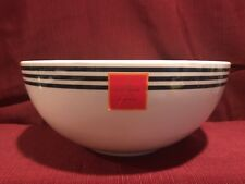 "Kate Spade 11"" SALUT! Salad Bowl Melamine ~~ White & Navy Stripe ~~ NWT"