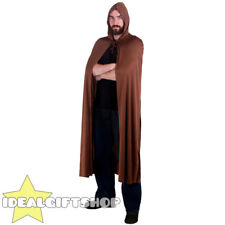 BROWN HOODED CAPE MYTHICAL FANTASY MOVIE TV GOBLIN CHARACTER COSPLAY FANCY DRESS