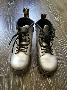 VGUC Dr. Martens Boy Girl Boots Silver US 9