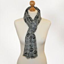 BNWT trendy peace print scarf peace scarf peace head wrap scarf pashmina in grey