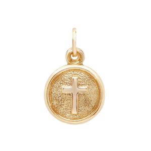 14K Yellow Gold Cross Medallion Pendant