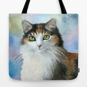 Tote Bag Totes All over print Cat 572 Calico art painting L.Dumas