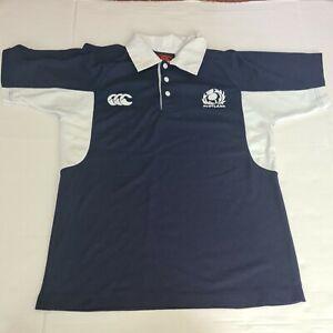 Scotland rugby canterbury Mens Medium Polo Shirt White Blue Navy