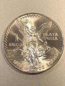 1986 1 oz .999 Fine Silver Mexico Onza / Libertad Coin