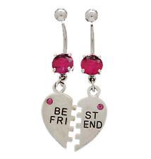 "Piece Stainless Navel Piercings Cz Gems Best Friends Belly Rings 14g 3/8"" 2"