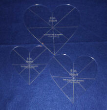 "Laser Cut Quilt Templates - 1/8"" Acrylic-5,6,8 - 3 piece Heart Set w/guidelines"