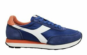 Diadora Heritage Koala Blue Leather Low Lace Up Mens Running Trainers 55271
