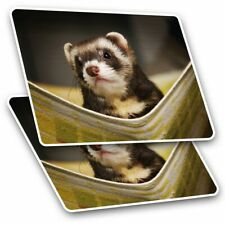 2 x Rectangle Stickers 10 cm - Ferret Hammock Pet Rodent Animal #16329