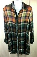 Soft Surroundings Womens Multicolored Button Up Shirt Size 2X 96% Polyester