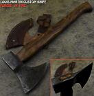 Louis Martin Hand Forged Damascus Steel Walnut Wood Tomahawk Hunting Axe Knife