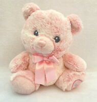 Aurora Baby Pink Teddy Bear LIL GIRL Plush Stuffed Animal Pink Bow