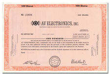 A-V Electronics, Inc. Stock Certificate (Fresno, California, Borehole Camera)