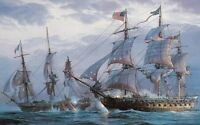 """Art Canvas Print Ship Naval battle Oil painting Printed on canvas 16""""X24"""" P074"""