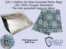 (20) ShieldPro 1-Gallon Zip Seal Gusseted  Mylar Bags + 300cc Oxygen Absorbers