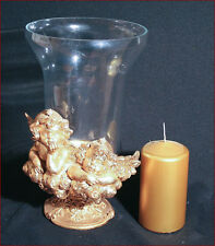 KERZENHALTER VASE GLAS ENGEL PUTTEN GOLD KERZE HAUS AUSSTATTUNG DEKORATIONEN
