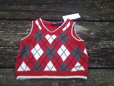 NWT Izod Boys Sweater Vest 6-9 Months Red Gray Argyle/Diamond