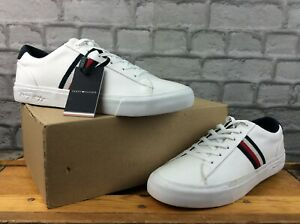 TOMMY HILFIGER MENS UK 9 EU 43 CORPORATE LEATHER TRAINERS WHITE NAVY RED M