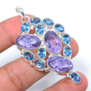 "Alexandrite & Blue Topaz 925 Sterling Silver Jewelry Pendant 2.61"" W242"