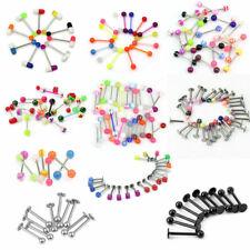 16 pcs Mixed Colors Plastic Balls Steel Barbell Tongue Bar Piercing Jewellery